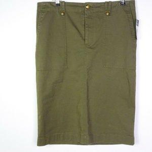 Ralph Lauren Skirt Pencil Gold-Tone Buttons